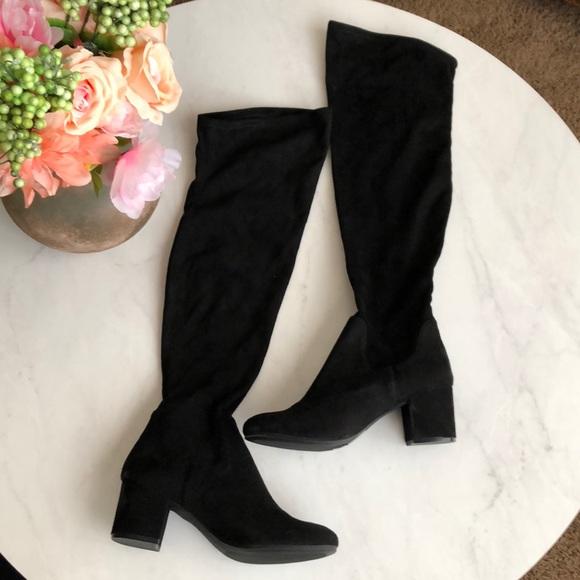 H&M Shoes | Nwt Hm Velvet Boots Over Knee Navy Blue | Poshmark